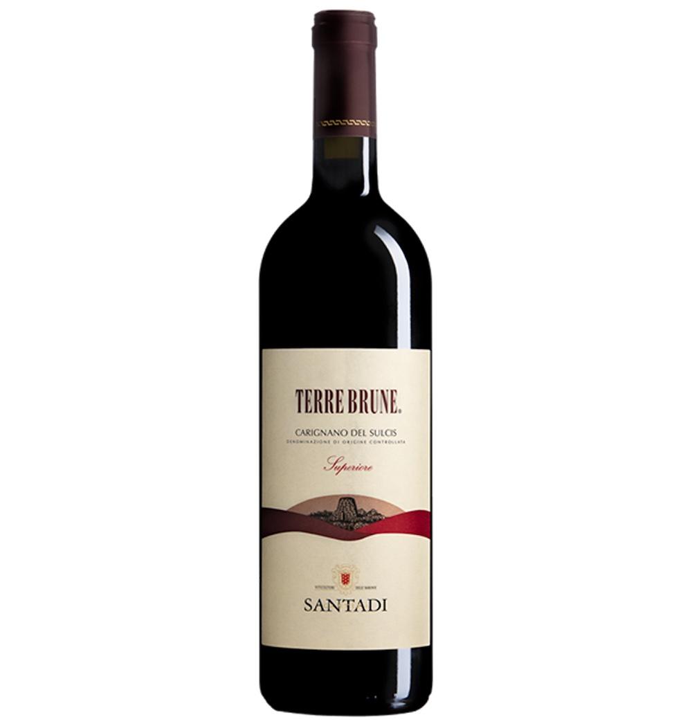 Bottiglia di Terre Brune della Cantina Santadi, cino creato dall'enologo Giacomo Tachis