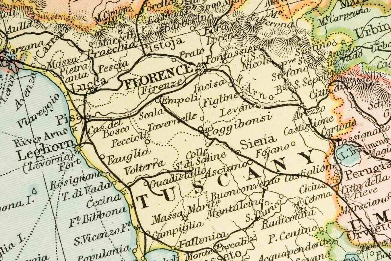 Mappa della Toscana: modi di dire comuni in dialetto toscano