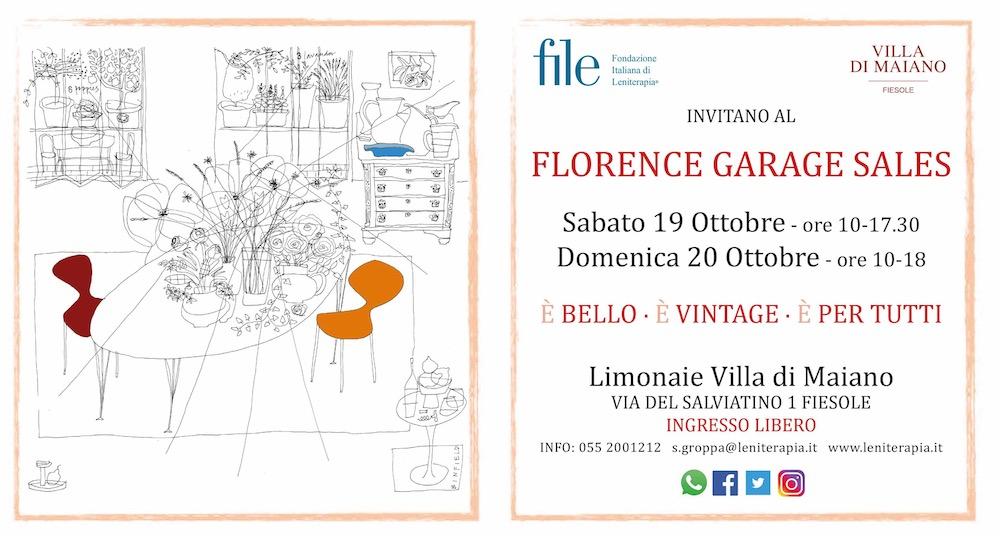 19 e 20 Ottobre 2019, Firenze, Villa di Maiano: Florence Garage Sales, mercato vintage di solidarietà per FILE - Fondazione Italiana di Leniterapia.