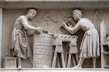 Bassorilievo sulla facciata della Chiesa di Orsanmichele a Firenze.