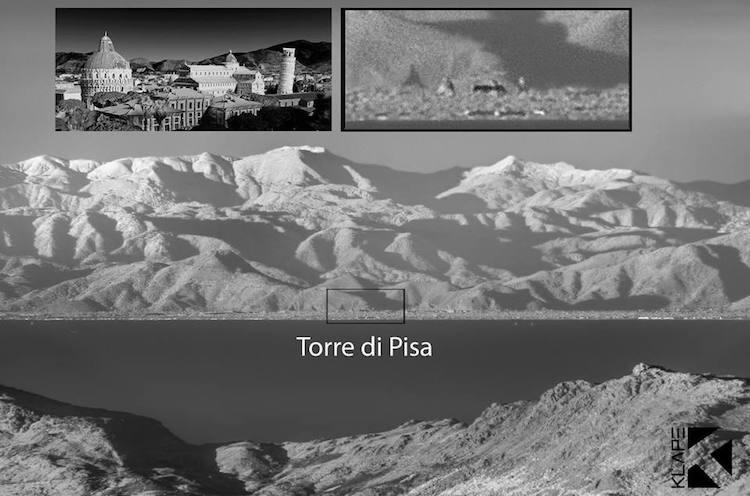 La Torre di Pisa dalla Corsica, la fotografia a infrarossi del fotografo France Klape
