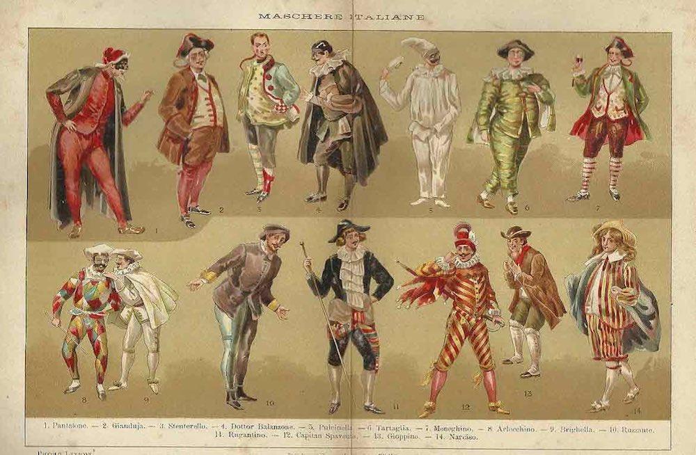 Le maschere di Carnevlae e della commedia dell'arte italiana