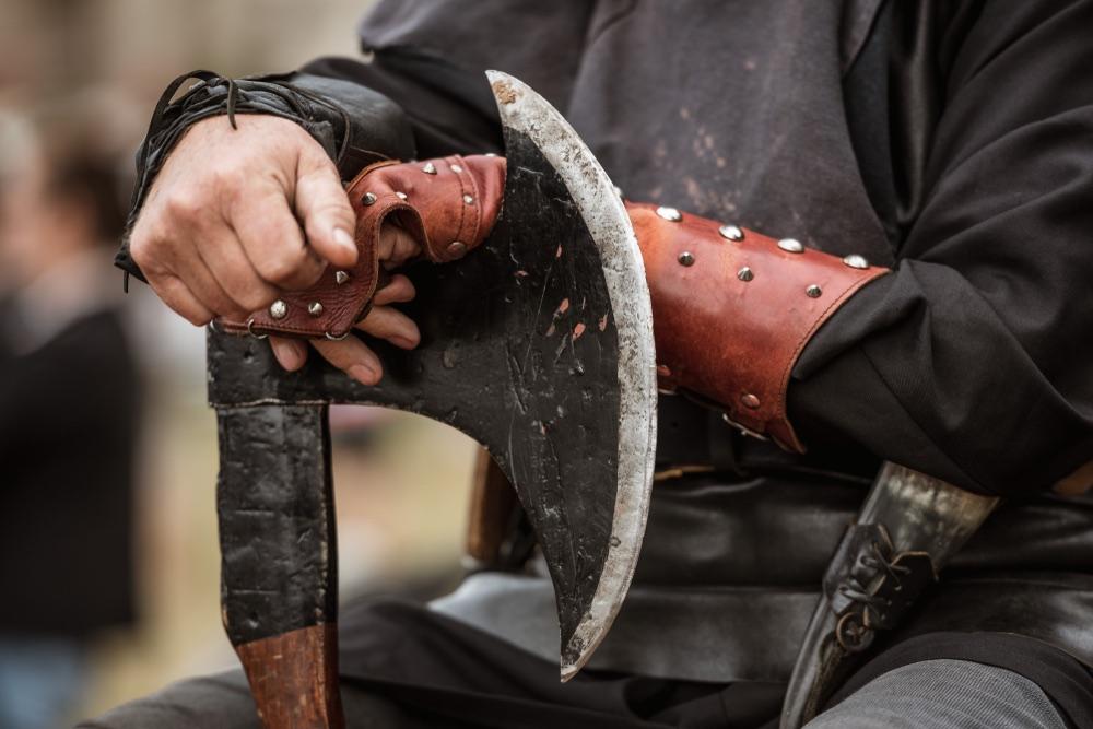 Ascia del boia in una rievocazione medievale