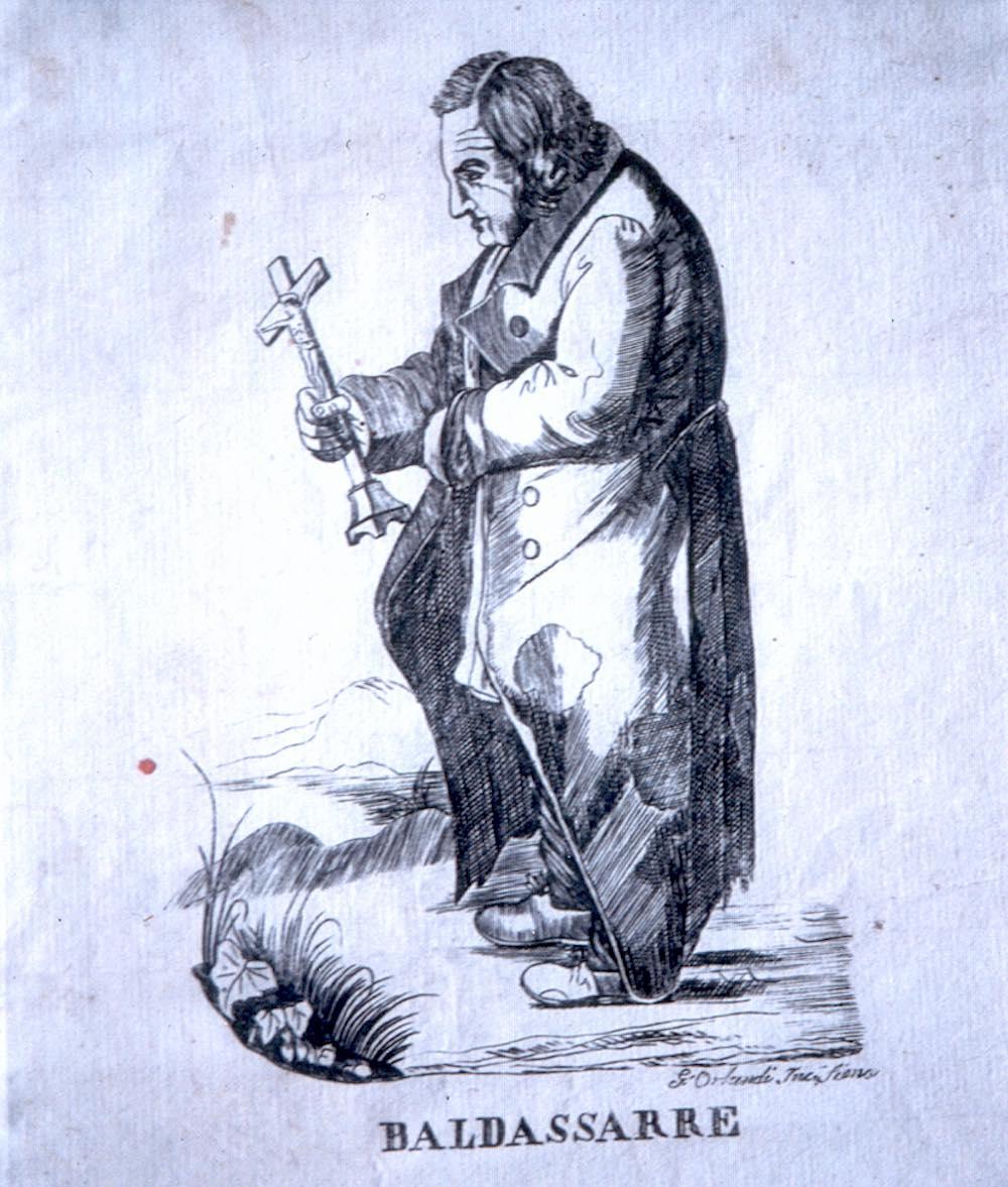 Litografia rappresentante Baldssare Audiberti