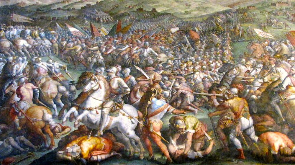 La Battaglia di Anghiari, dipinto di Leonardo da Vinci nel Salone dei Cinquecento a Palazzo Vecchio - Firenze