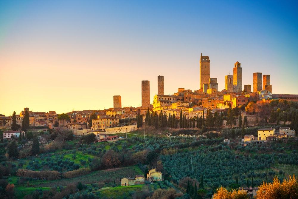 Le torri di San Gimignano al tramonto
