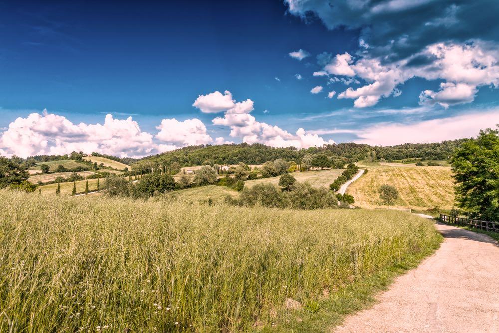 Una strada vicino a Bibbiena in Casentino per visitare la Toscana in auto
