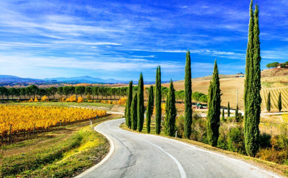 Strada nel Chianti tra cipressi e vigneti