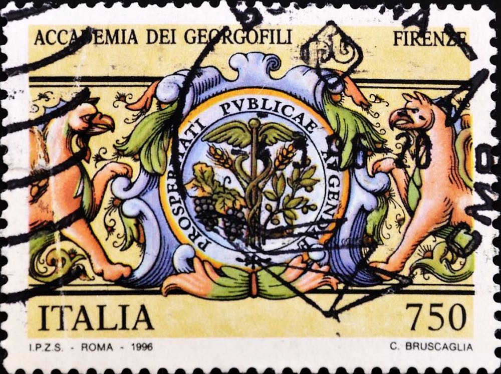 Francobollo con motto e simbolo dell'Accademia dei Georgofili