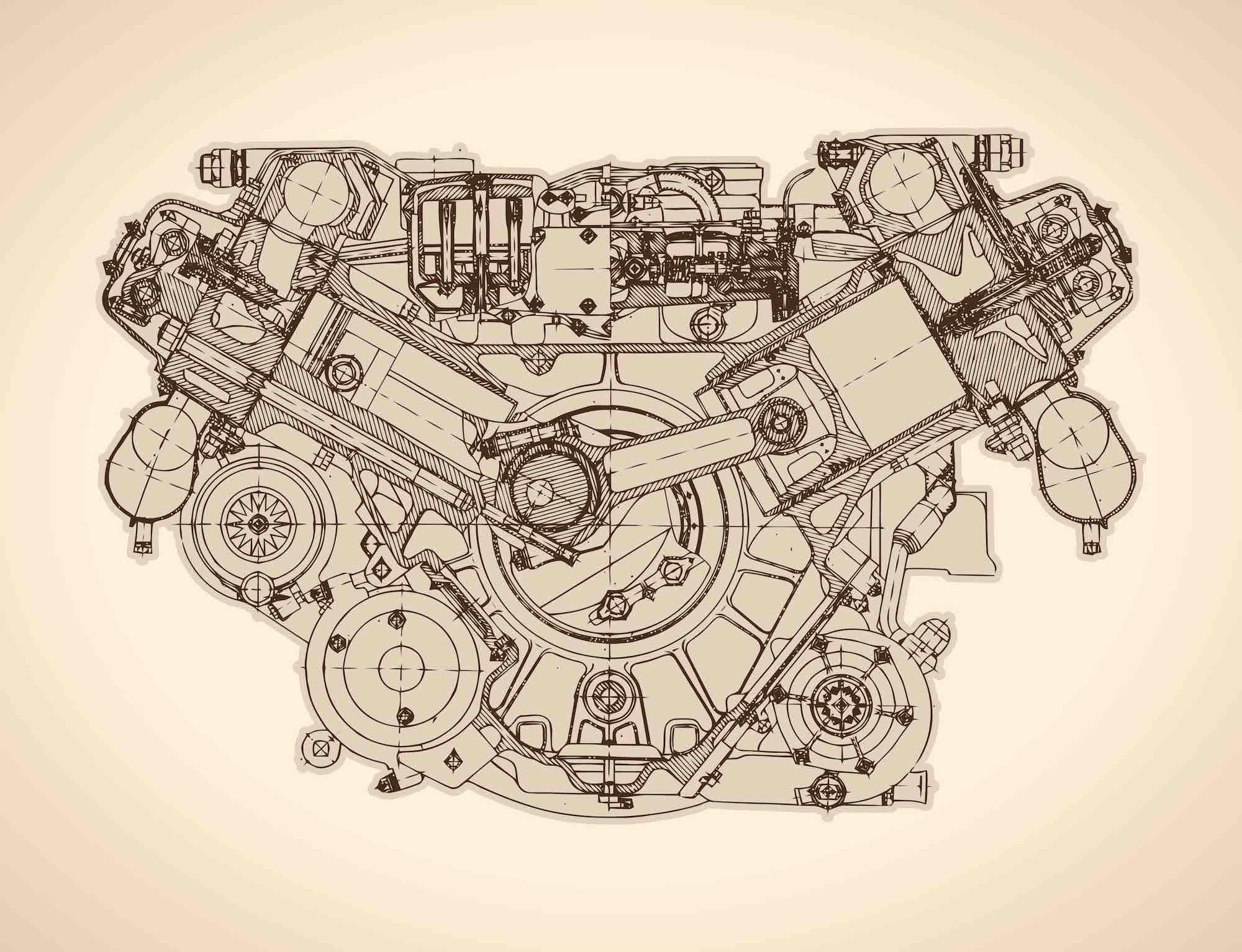 Disegno di un vecchio motore a scoppio o a combustione interna inventato da Eugenio Barsanti