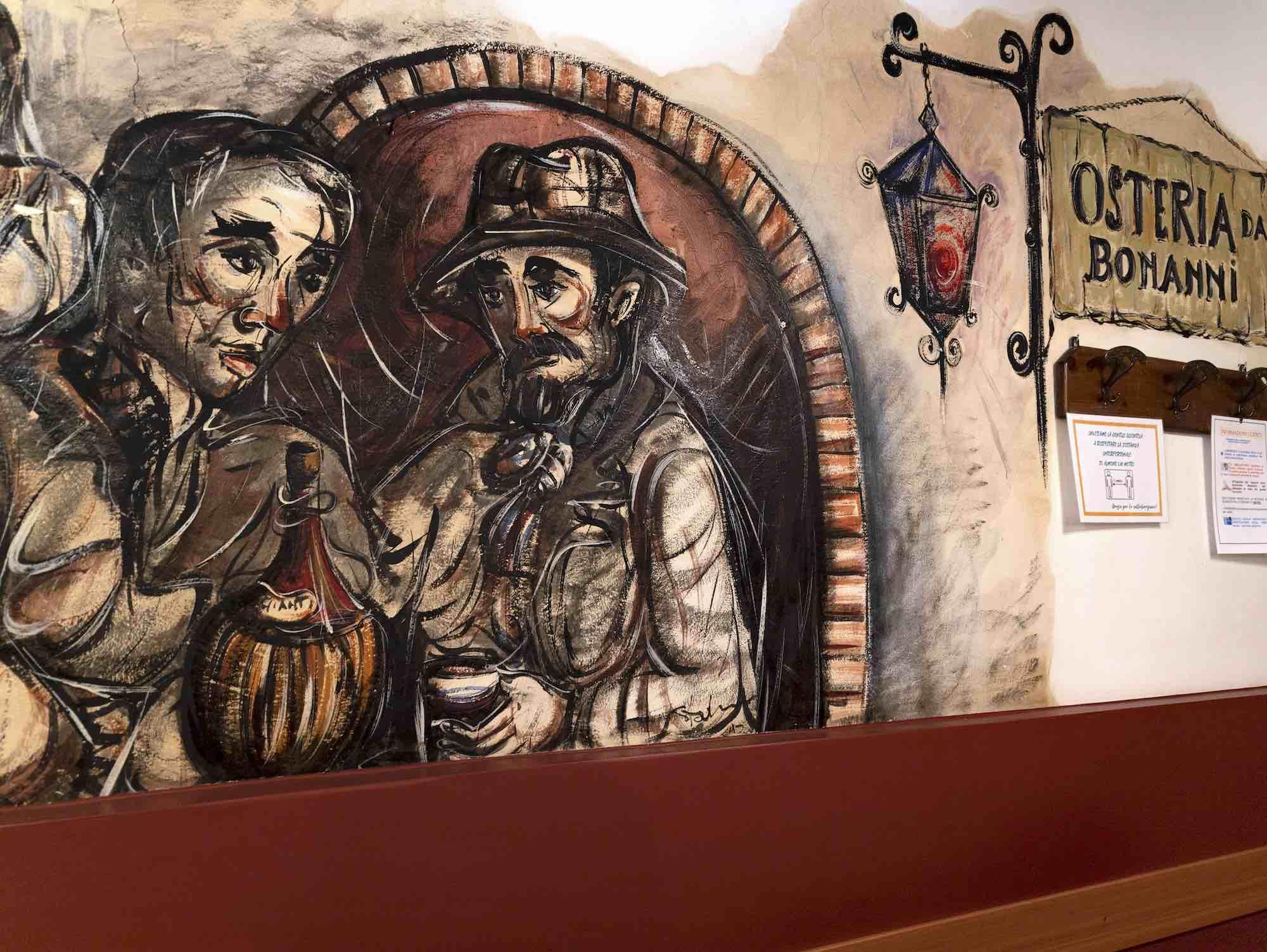 Affresco all'interno dell'Osteria Bonanni a Montelupo Fiorentino