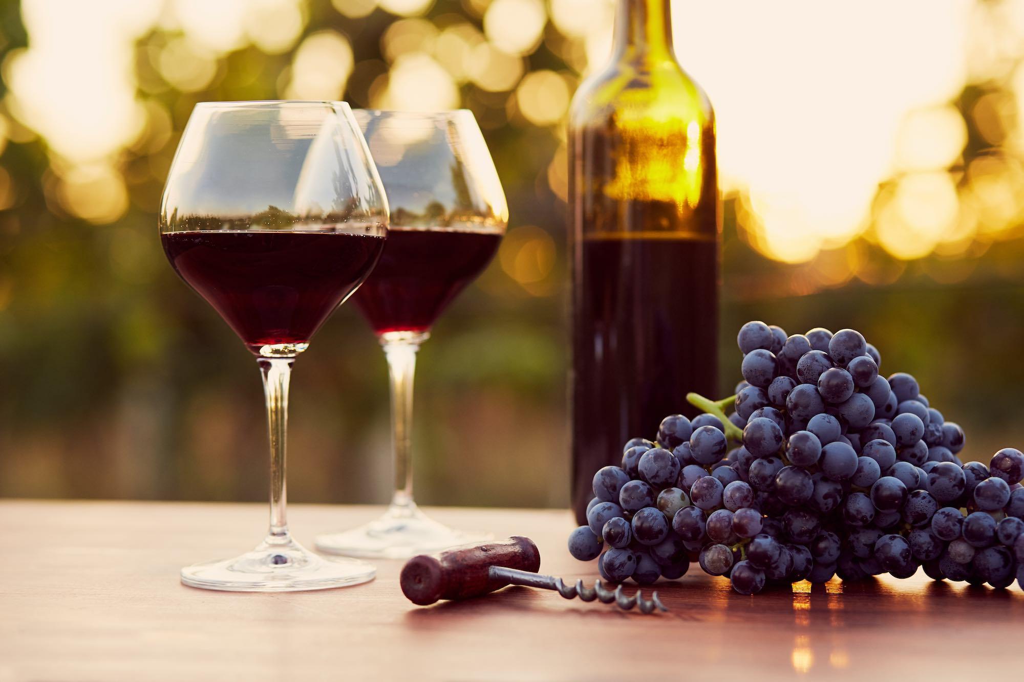 Bicchieri e bottiglia di vino rosso al tramonto con grappolo d'uva