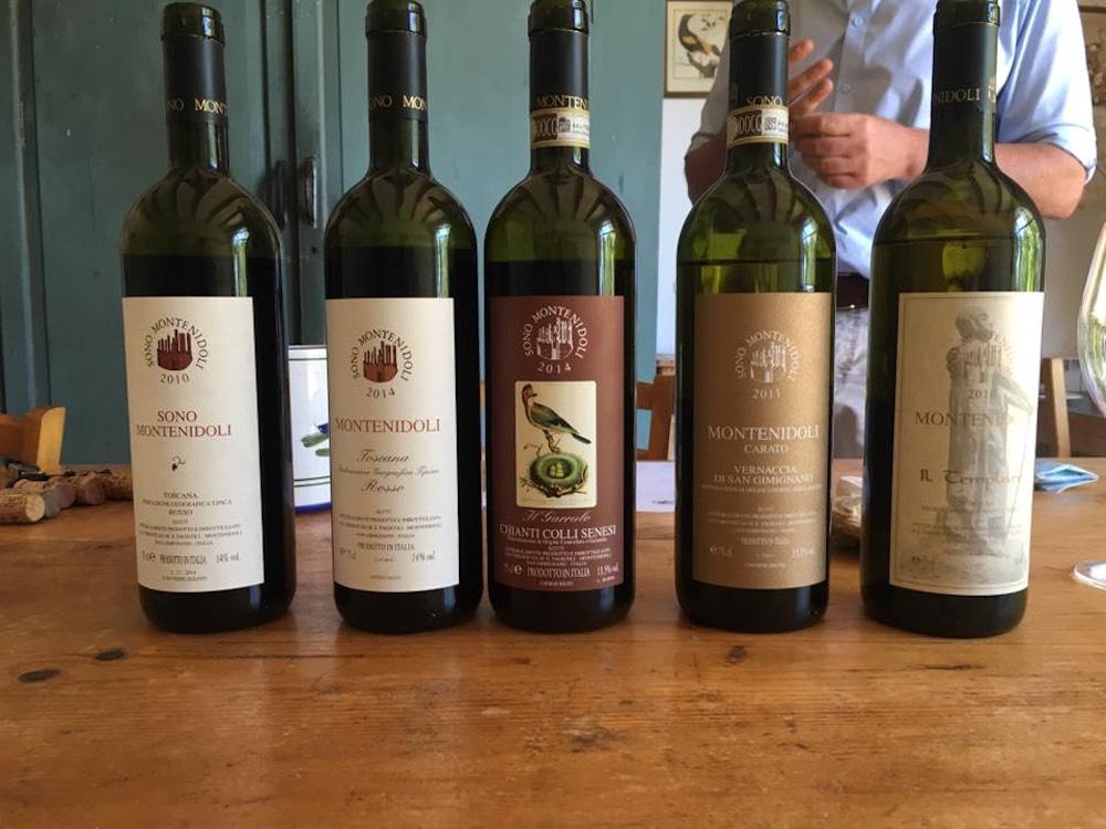 Bottiglie dell'Azienda Montenidoli di San Gimignano
