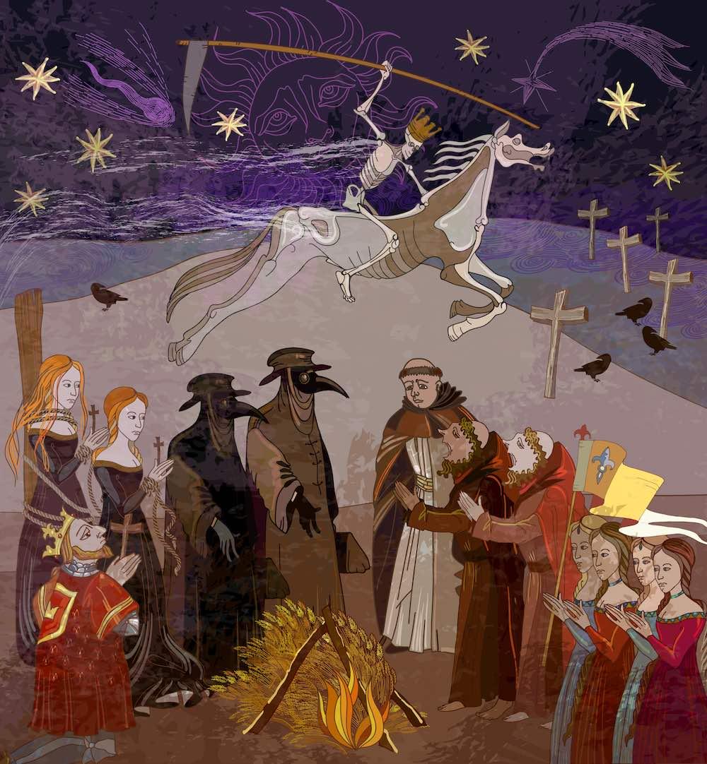 Il cavaliere della morte in un'immagine del Medioevo durante la peste nera