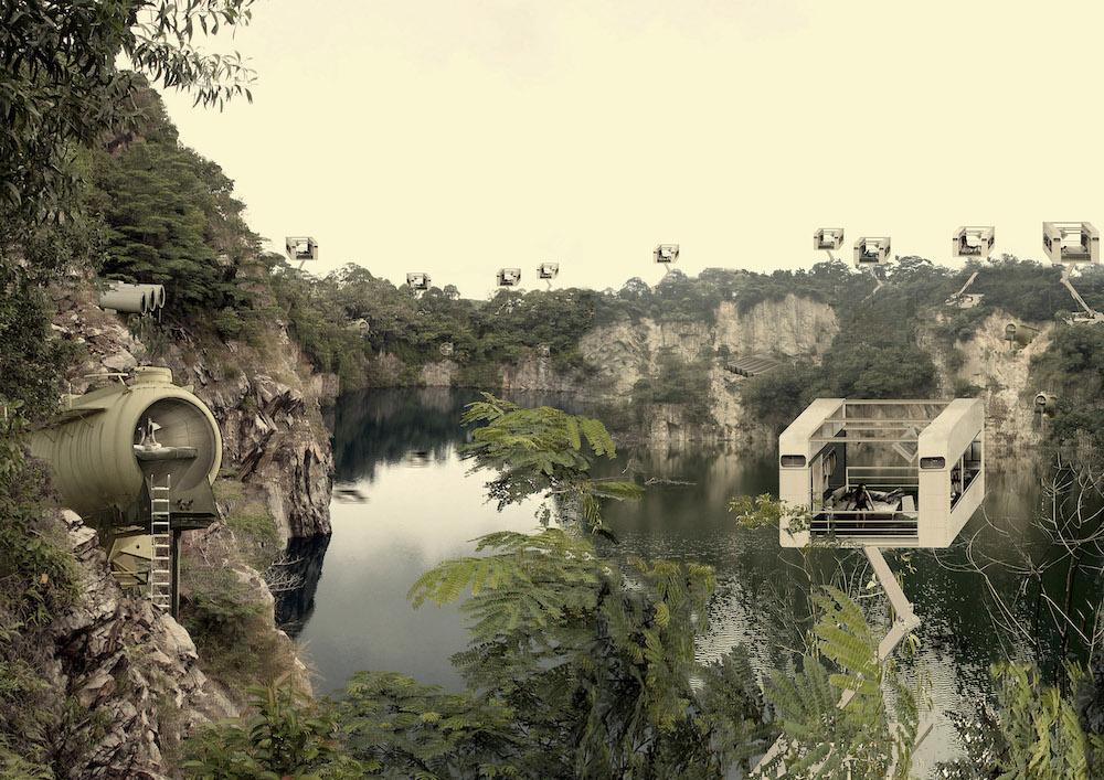 Antonas: Landascape with crane rooms and keg apartments Ubin Quarry in Singapore