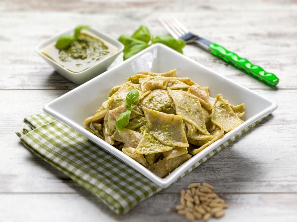 Piatto di testaroli, pasta tipica della Lunigiana toscana