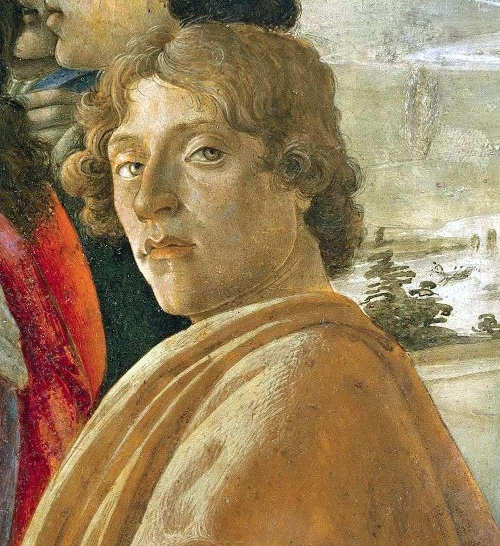 Presunto autoritratto di Sandro Botticelli, in un particolare dell'Adorazione dei Magi