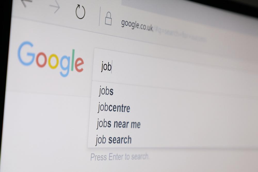 Barra di ricerca di Google con query job