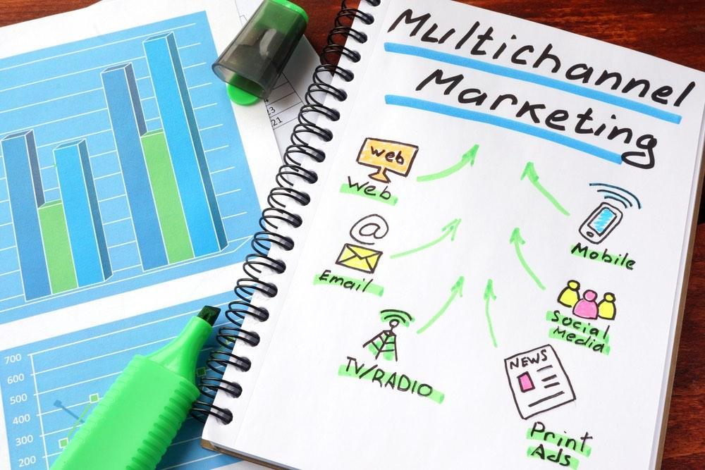 Illustrazione grafica su quaderno del concetto di multi channel marketing
