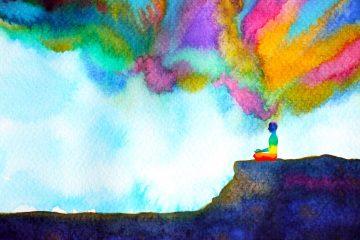 Il concetto di mindfulness rappresentato da un disegno ad acquerello