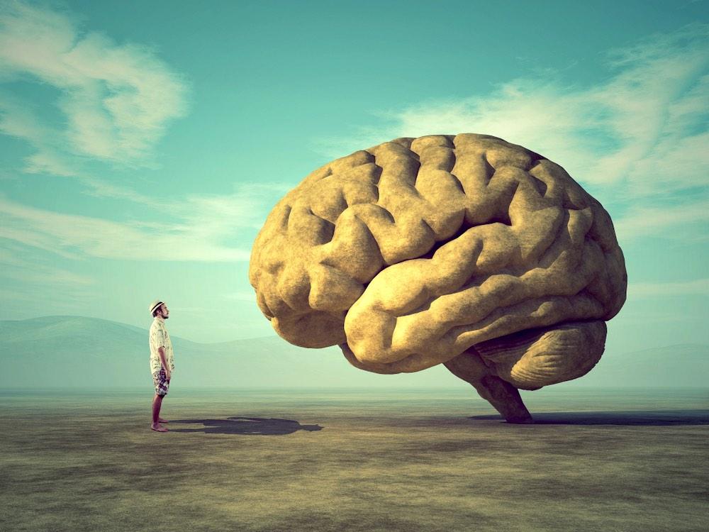 Ragazzo nel deserto osserva un grande cervello davanti a lui