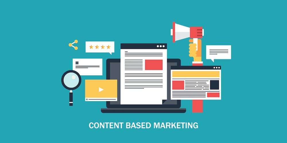Illustrazione del concetto di contente based marketing