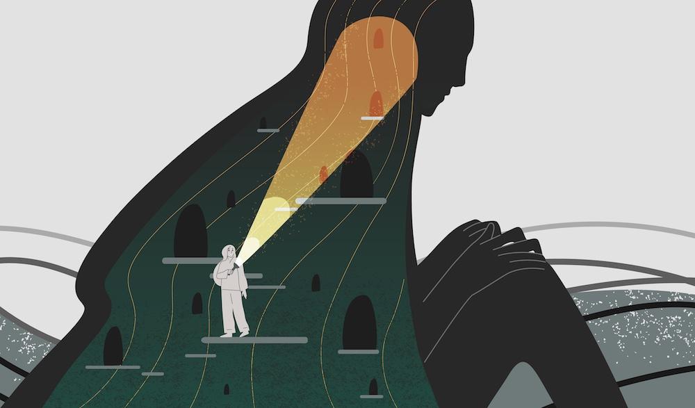 Rappresentazione di ricerca interiore: ragazza cerca dentro se stessa con una torcia