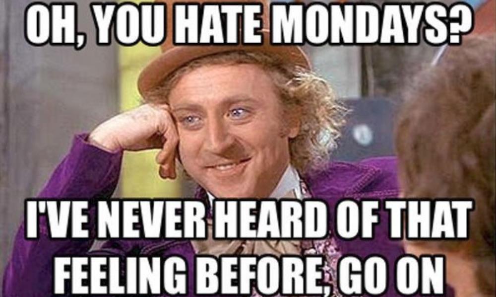 Meme di Willy Wonka sul lunedì