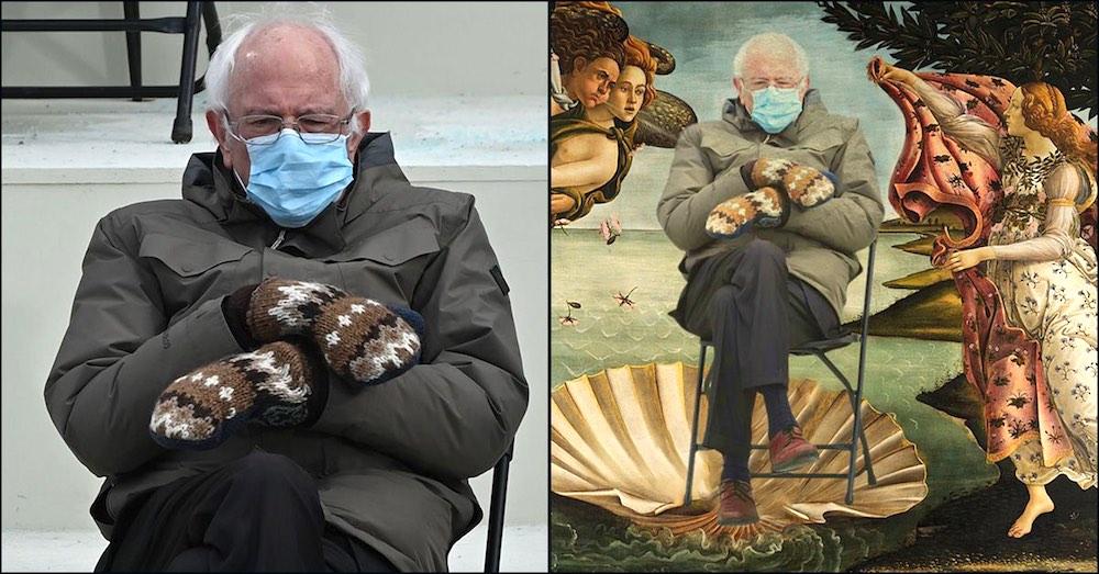 Meme su Bernie Sanders seduto sulla sedia dentro la Primavera del Botticelli
