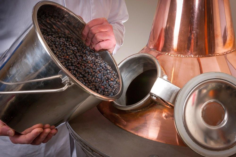 Bacche di ginepro vengono aggiunte in un distillatore