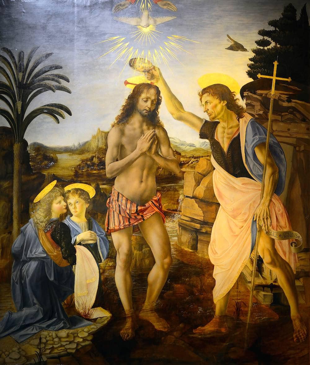 Il Battesimo di Cristo, oggi agli Uffizi, dipinto da Verrocchio e Leonardo
