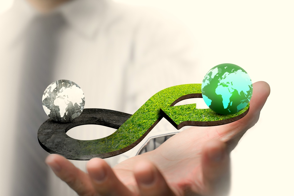 Concetto di economia circolare ed energia rinnovabile infinita