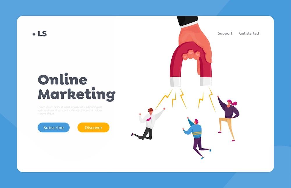 Immagine vettoriale di un lead magnet per l'online marketing
