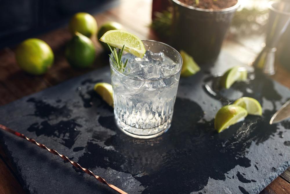 Un gin tonic appena preparato con fette di limone e rosmarino