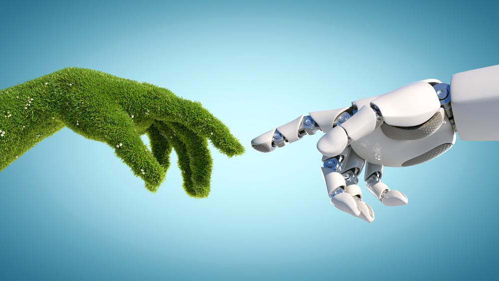 Immagine astratta sul concetto di rivoluzione verde e digitale