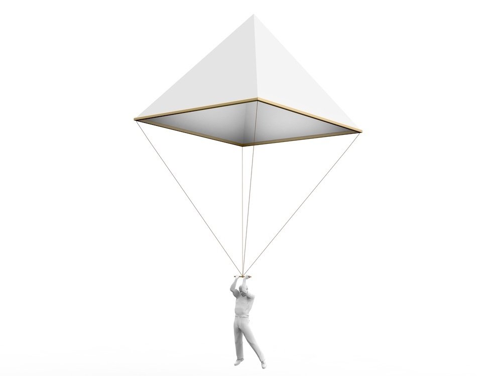 Riproduzione moderna del disegno del paracadute di Leonardo da Vinci tratta dal Codice Atlantico