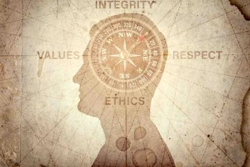 Concetto di etica: in una mappa al posto dei punti cardinali ci sono rispetto, integrità, etica e valori