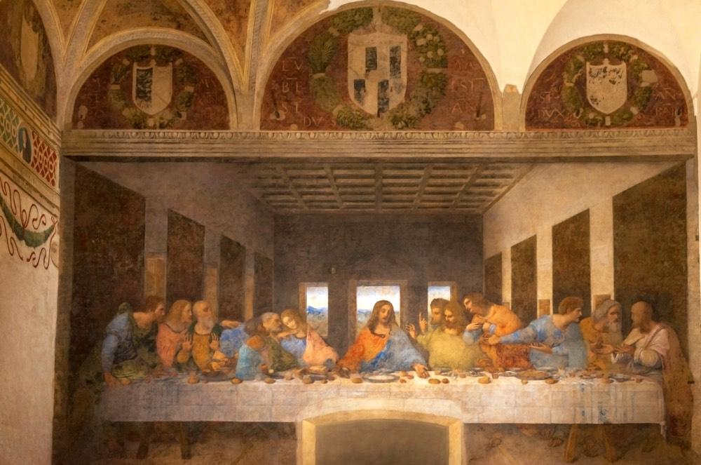 L'affresco dell'Ultima Cena, a Milano, una delle più famose opere di Leonardo da Vinci