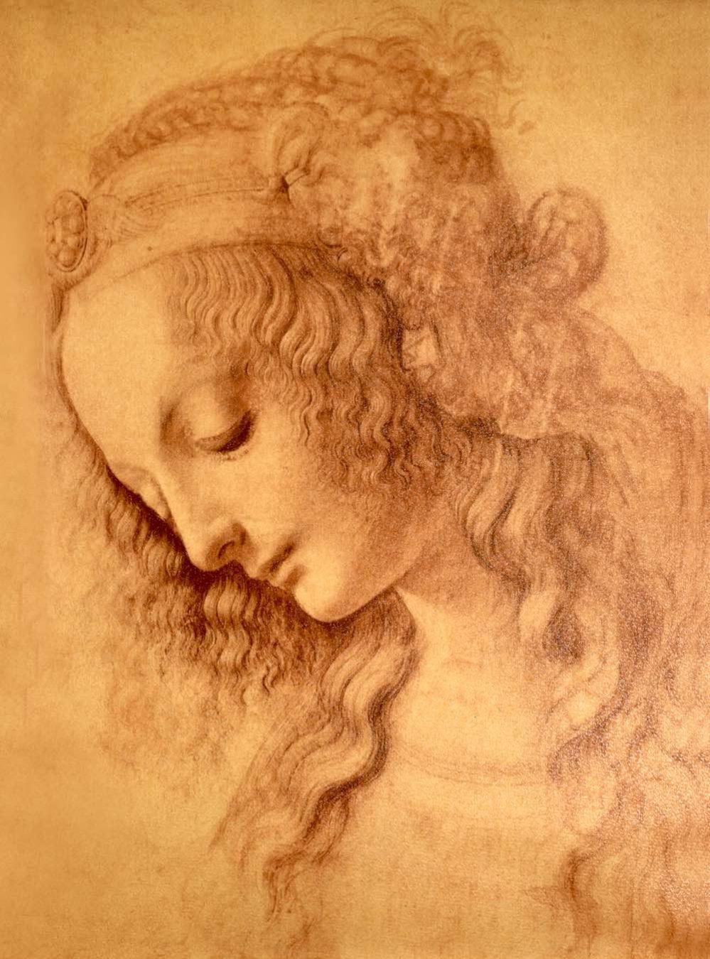 Disegno di testa di donna di Leonardo da Vinci, 1473.