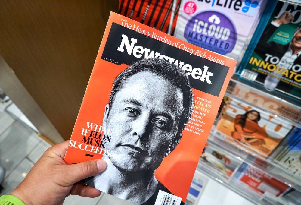 Elon Musk in copertina di Newsweek, agosto 2018