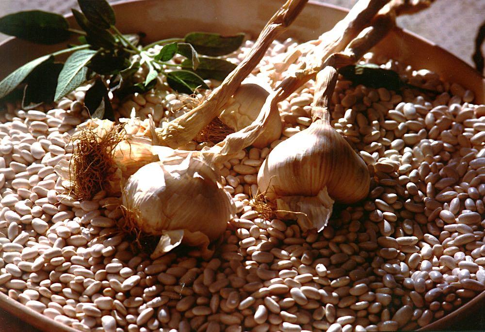 Fagioli di Sorana insieme a capi d'aglio e foglie di salvia