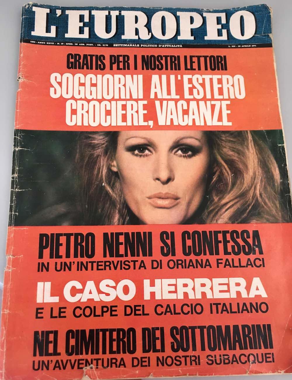 La copertina de L'Europeo con in copertina l'intervista di Oriana Fallaci a Pietro Nenni, Aprile 1971