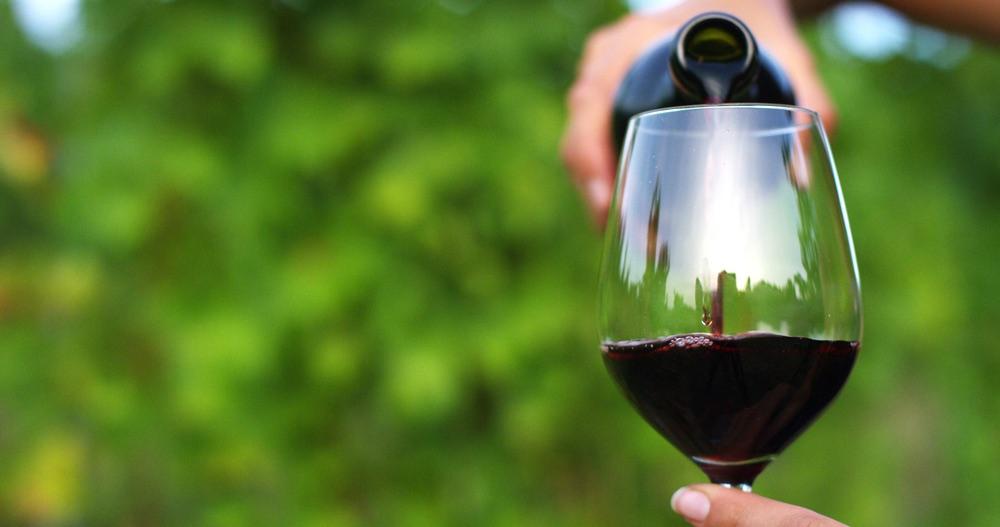 Mescita di vino rosso in bicchiere di vetro