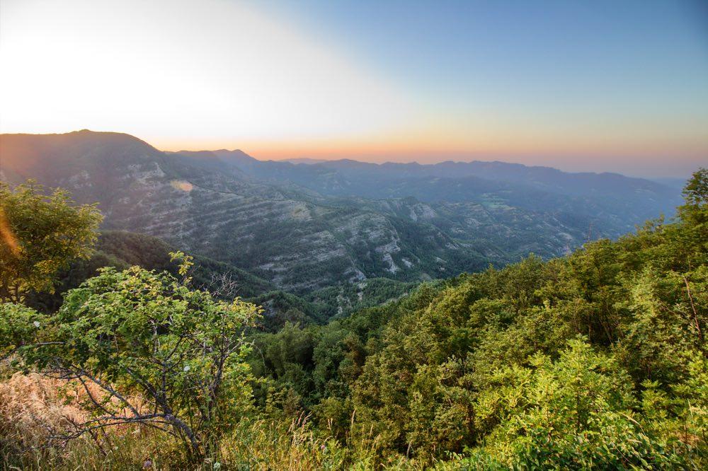 Panorama dagli Appennini vicino a Palazzuolo sul Senio nell'Alto Mugello
