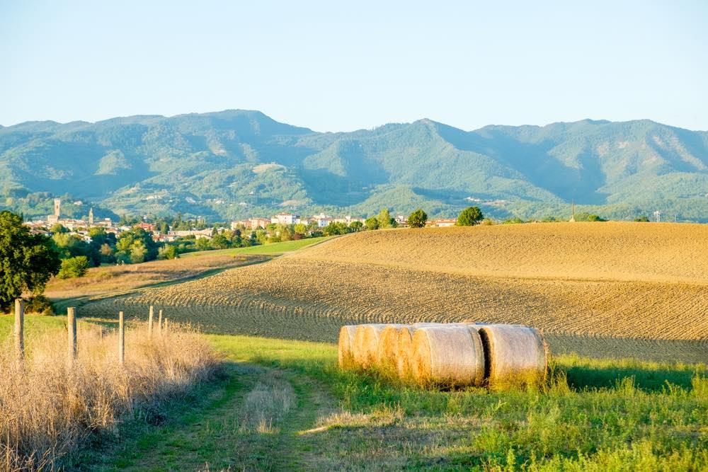 Campi coltivati e balle di fieno in Mugello, Toscana
