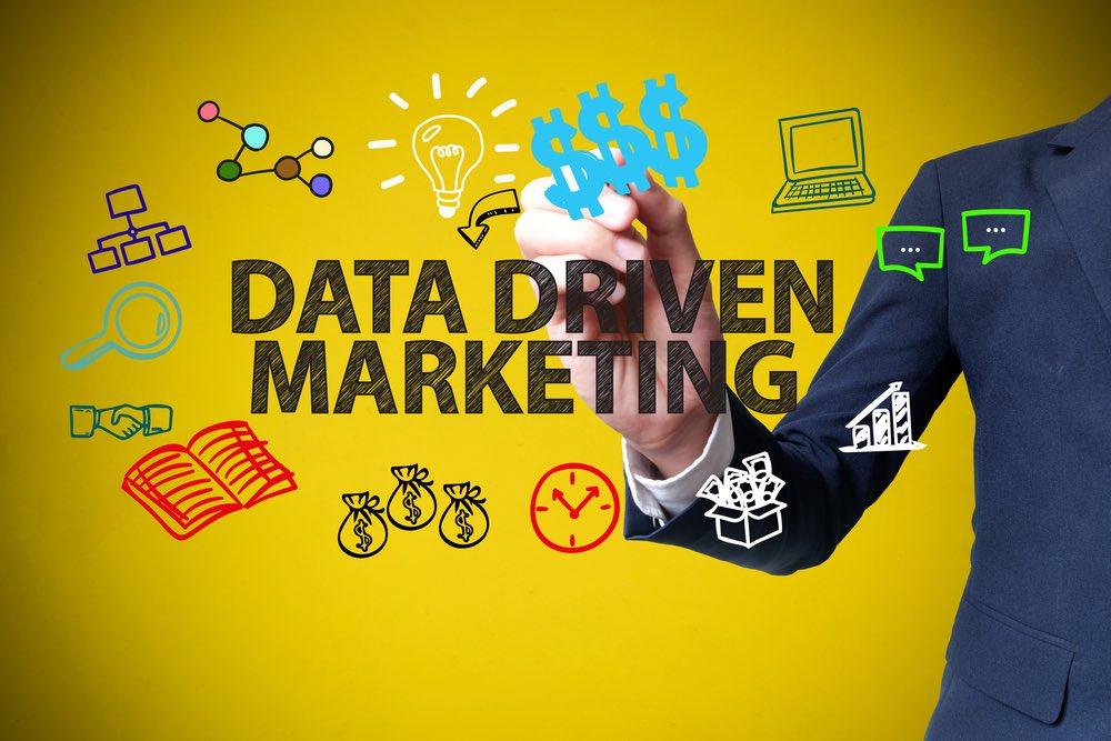 Concetto di data driven marketing, icone su sfondo giallo