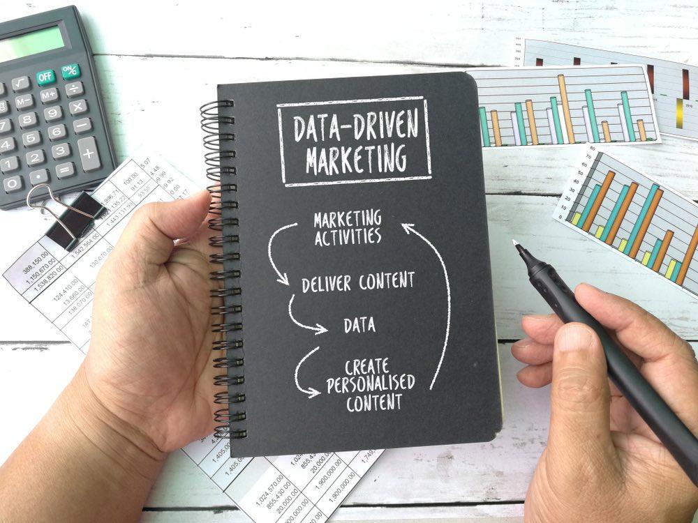 Concetto di data driven marketing, icone su notebook