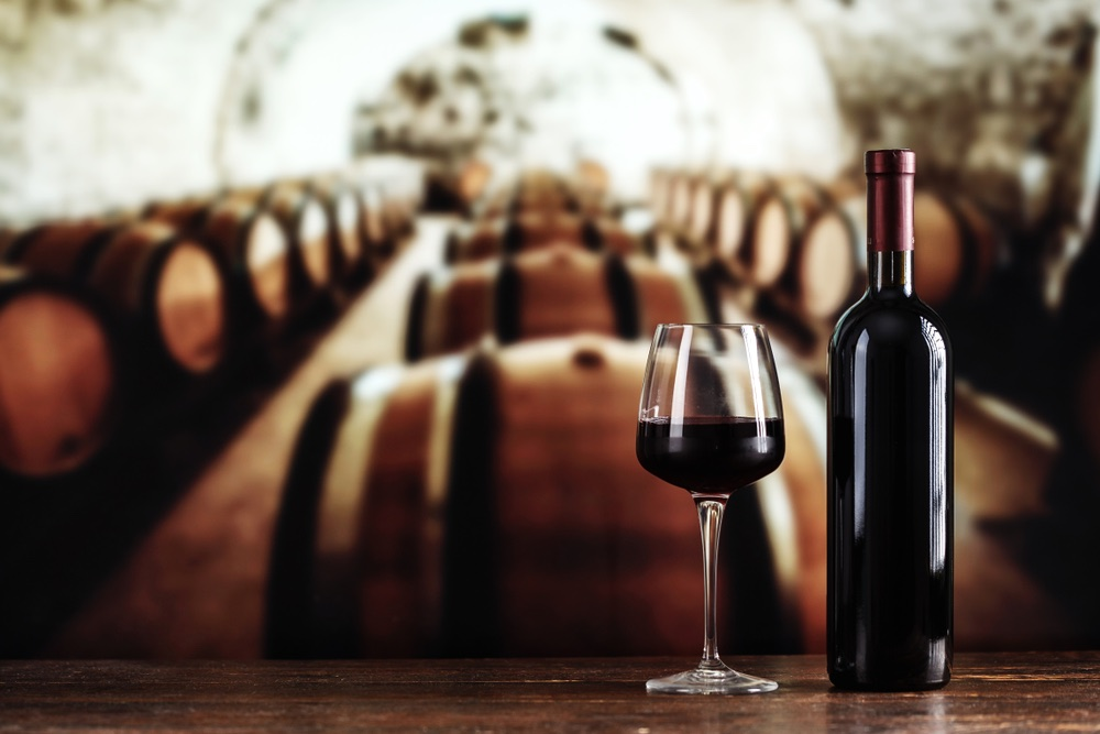 Bicchiere di vino in cantina con botti