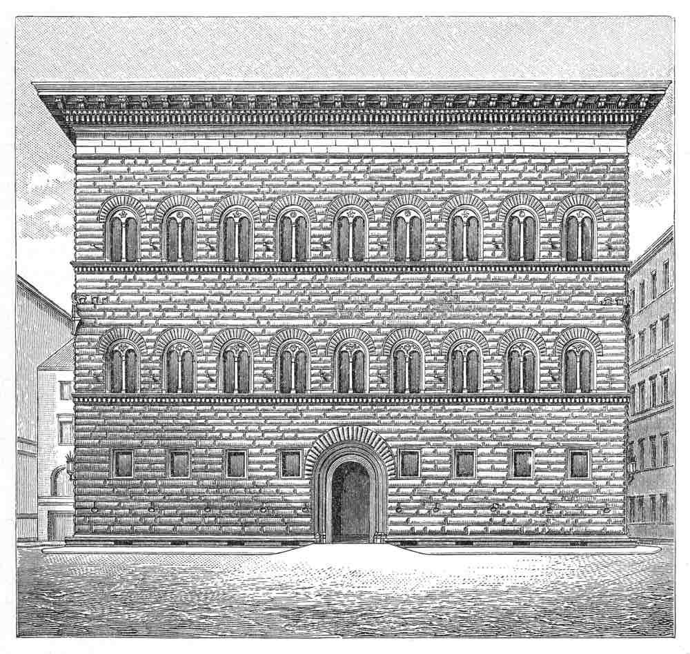 Illustrazione di Palazzo Strozzi del 1897 di Meyers Konversation Lexikhon