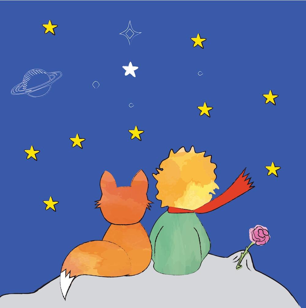 Il Piccolo Principe, la rosa e la volpe sul pianeta guardano le stelle